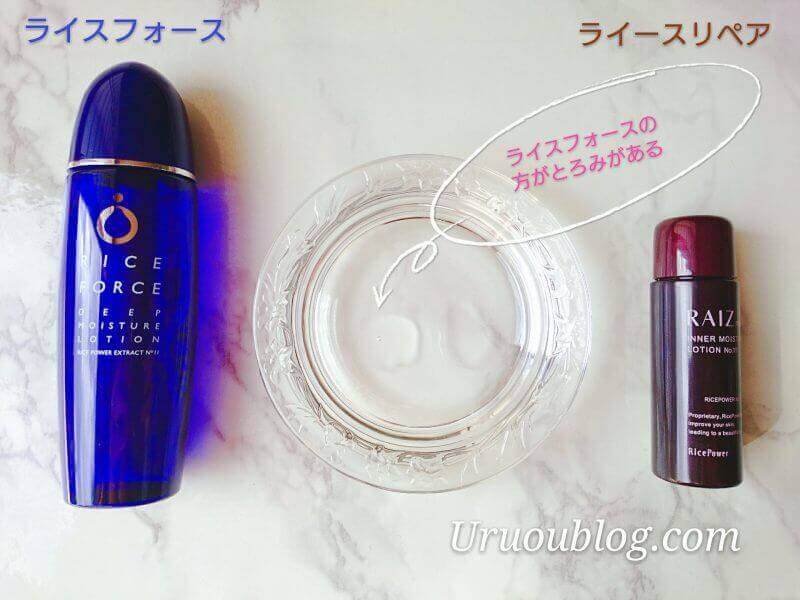 ライースリペアとライスフォースの化粧水を比較
